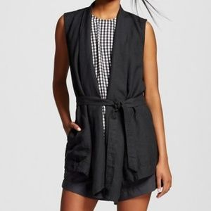 Black belted linen vest from Who What Wear